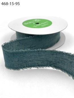 Green Blue Charcoal Frayed Edge Linen Cotton Ribbon