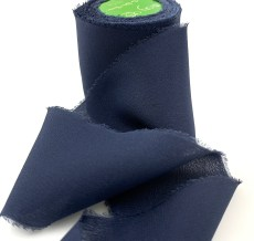 Navy Blue Frayed Edge Silk Chiffon Ribbon