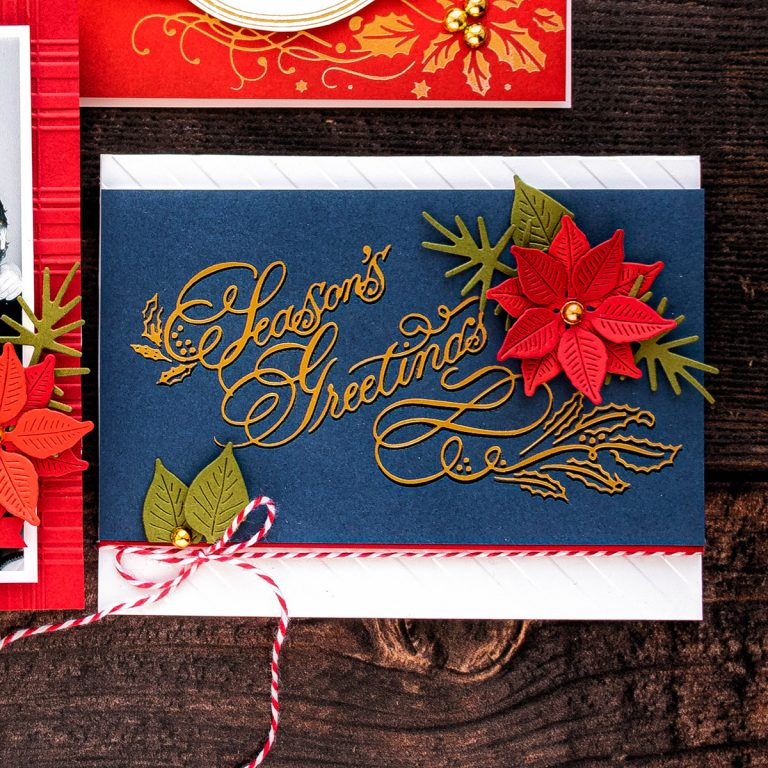 make your own christmas card seasons greetings with red and white bakers twine