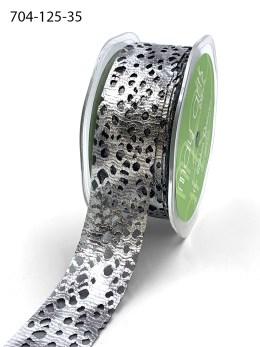 """1.25"""" Pewter Silver Metallic Web Ribbon"""