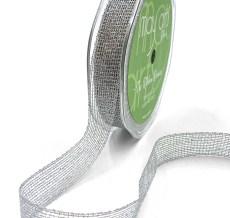 "5/8"" Silver Metallic Knit Net Crochet RIbbon"