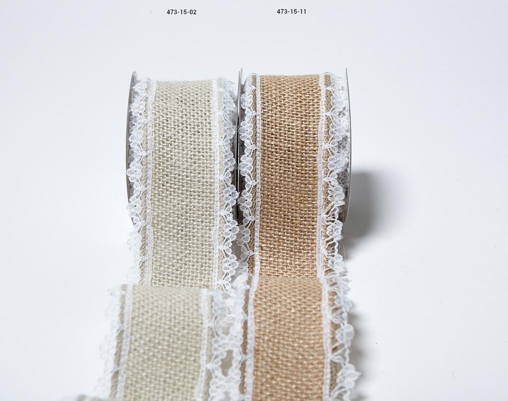 Burlap Ribbon with Lace Edge