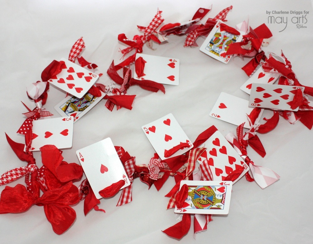 Valentine's Garland using a Deck of Cards & Ribbon