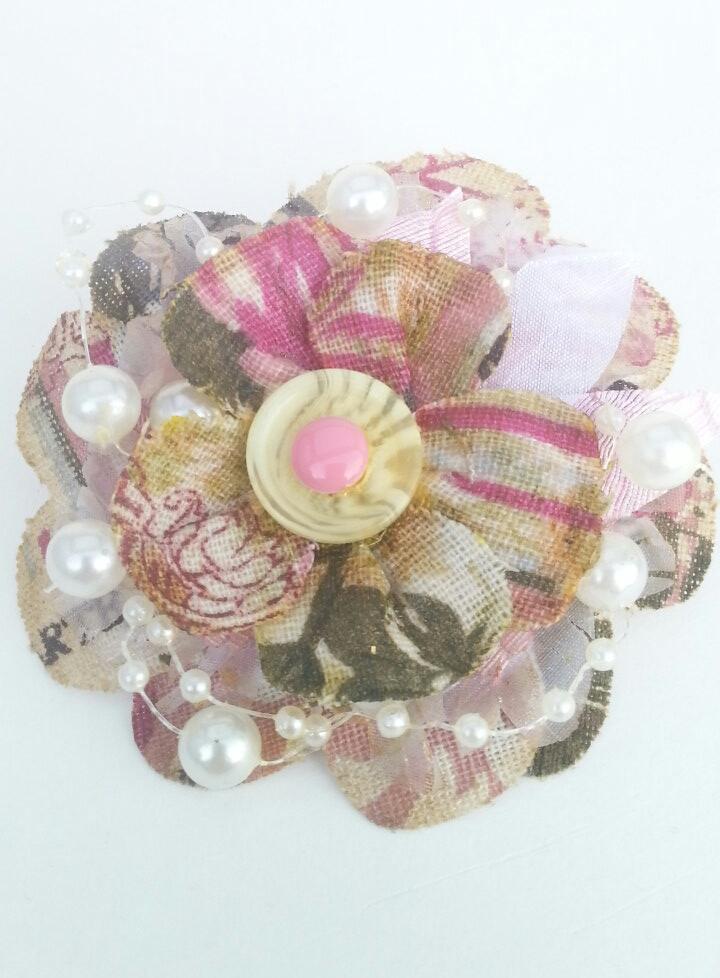 Vintage Flower Ribbon Pin