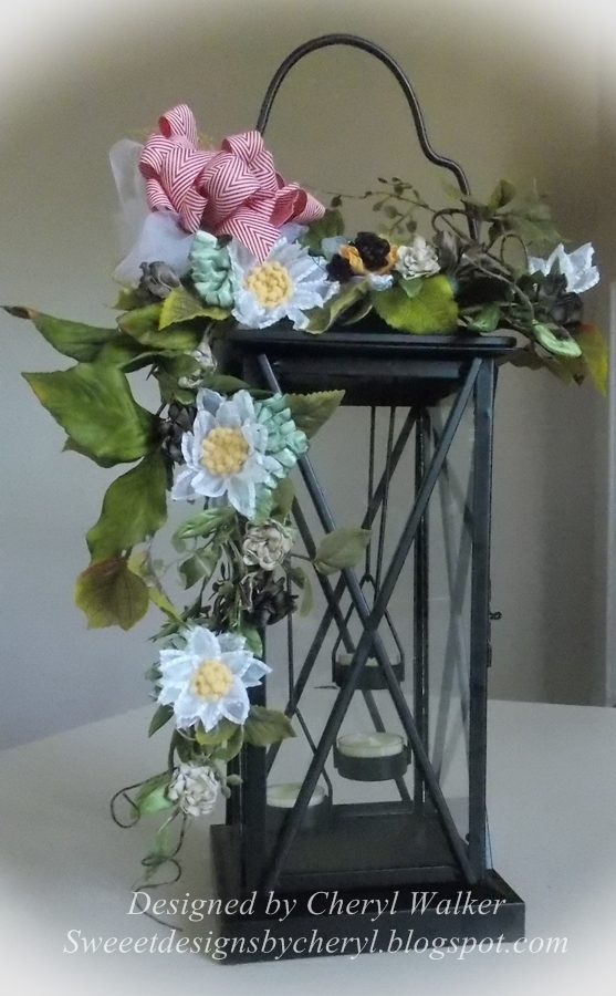 Floral Arrangement with Handmade Ribbon Flowers