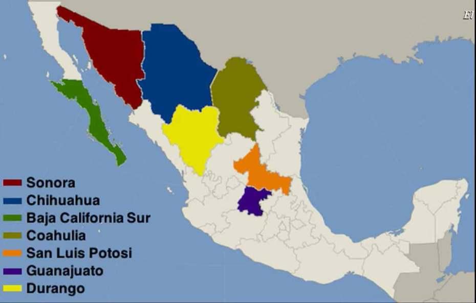 Estados con oro en México
