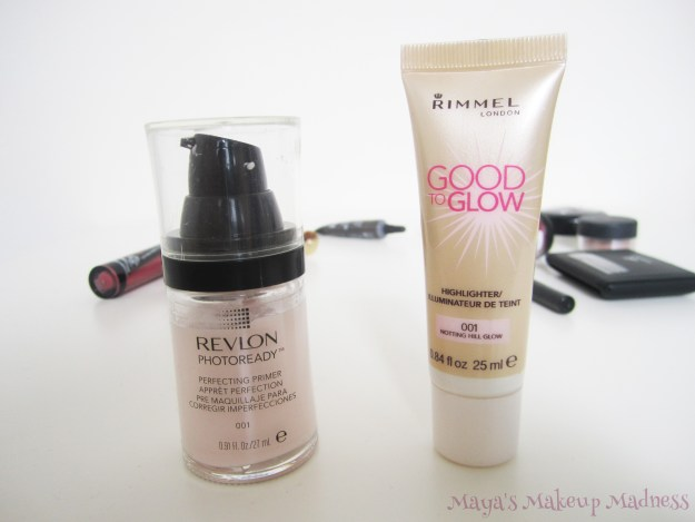 Revlon - Photoready Perfecting Primer, Rimmel - Good to Glow highlighter (LtR)