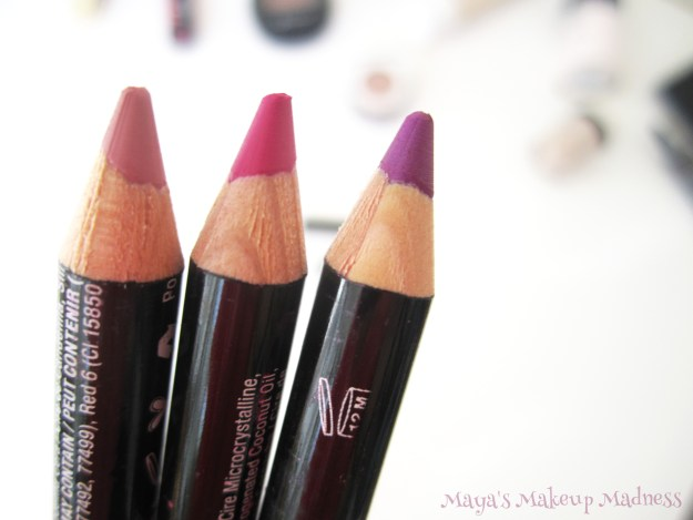 NYX lip liners: Nude Pink, Fuchsia, Purple Rain (LtR)