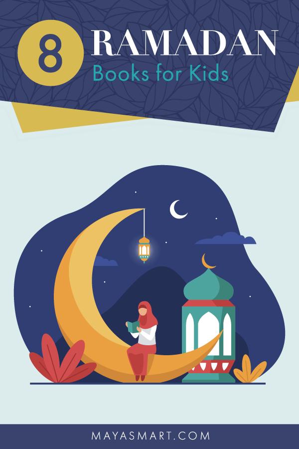 Illustration of woman reading book sitting on moon for Ramadan
