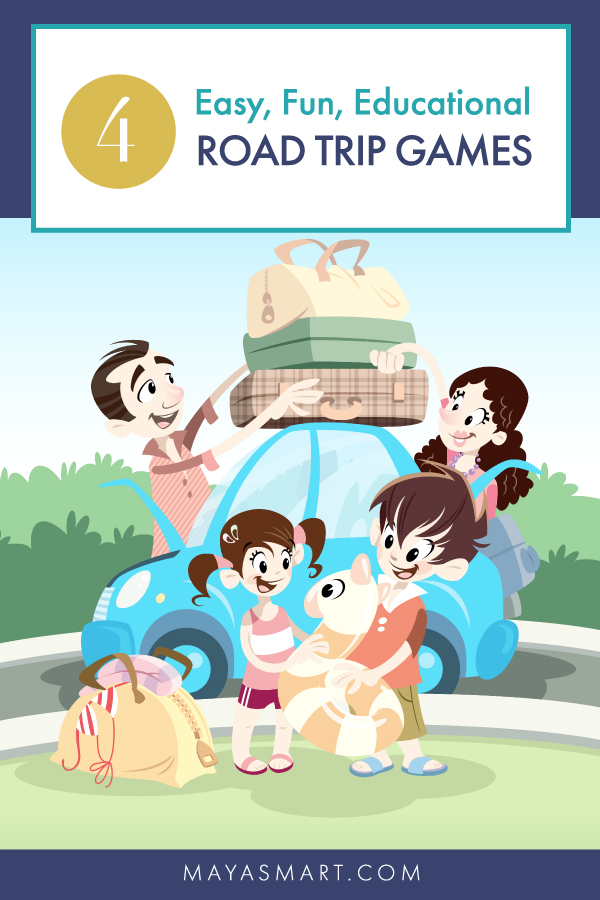 Illustration of family packing car for road trip