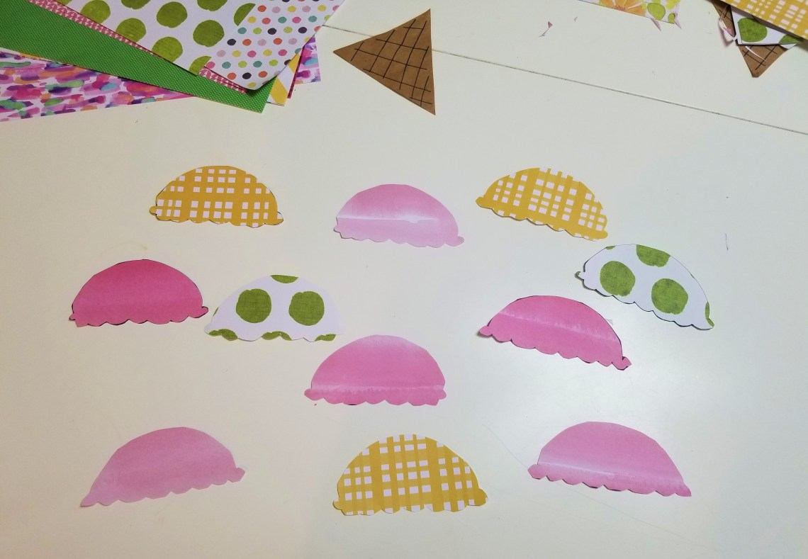 Ice cream scoops cut out of patterned craft paper
