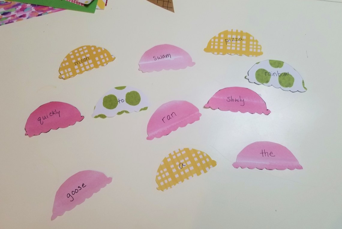 Scoops of ice cream cut out of patterned craft paper with words written on each one