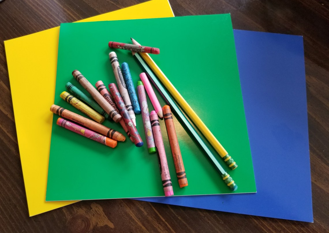construction paper and crayons