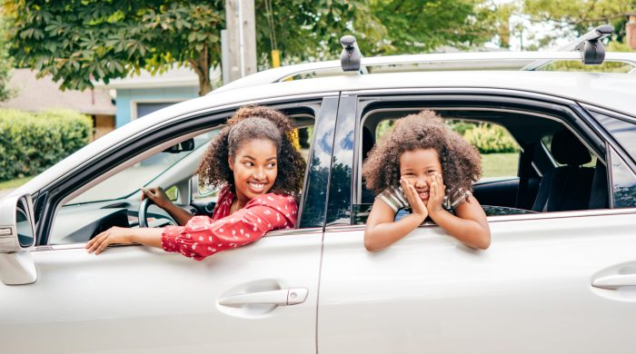 Mom and daughter in car together