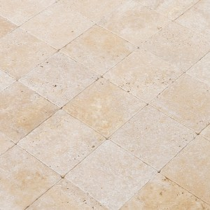 oasis beige 6x6 travertine tiles tumbled angle closeup