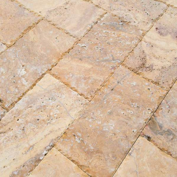 20020072-Meandros Gold Yellow Travertine Pavers - Honed and Chiseled Close view5 - www.mayausatile.com
