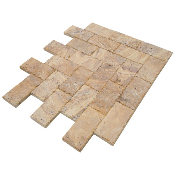 20020072-Meandros Gold Yellow Travertine Pavers - Honed and Chiseled angle view - www.mayausatile.com