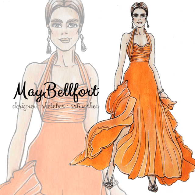 Fashion illustration sketch by May Bellfort