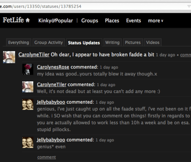 A Screenshot Showing A Fetlife User Called Carolynestiler Boasting About Being The Person Who Broke