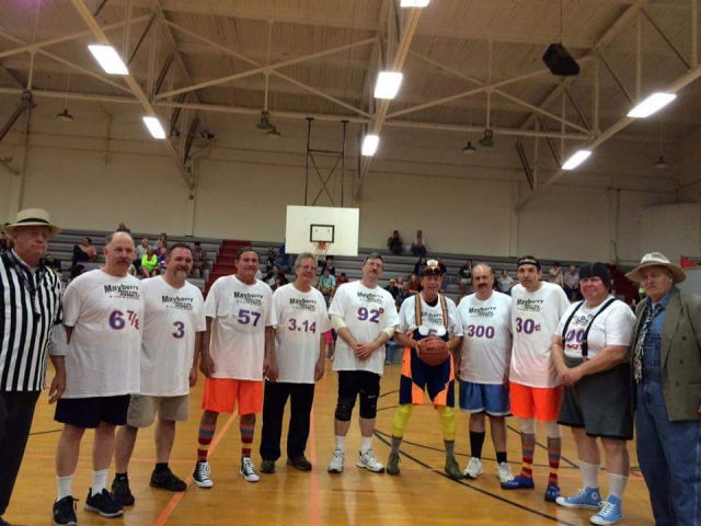 Mayberry tributes basketball team ready to play ball at Mayberry in the Midwest.