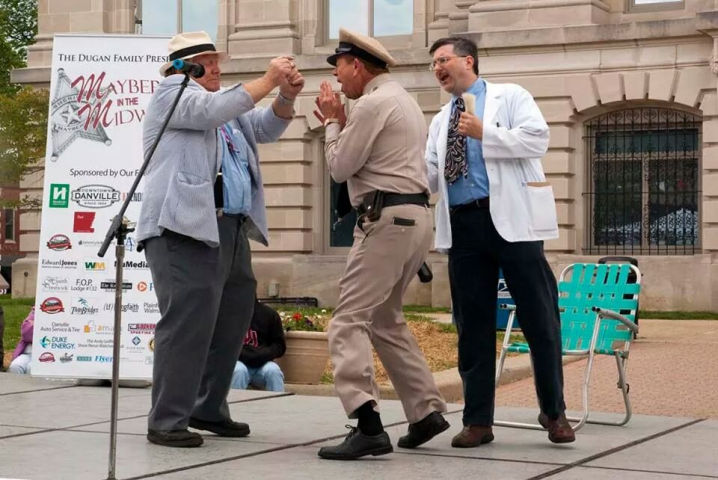 Barney giving Otis his sobriety test at Mayberry in the Midwest.