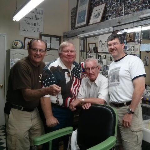 Goober, Otis, and Floyd in their 'civies' with Russell Hiatt at Floyd's City Barber Shop in Mt. Airy, NC.