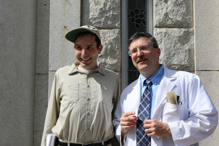 Michael 'Gomer' Oliver and Floyd on the streets of Mt. Airy, NC.