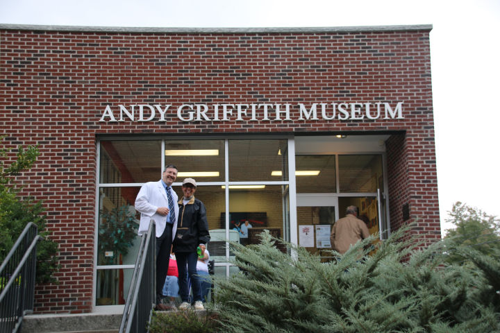 Floyd and Terri, the daughter Emmett Forrest (Andy Griffith's life long friend) in front of the Andy Griffith Museum.