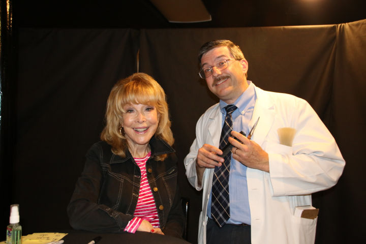 Barbara Eden played 'The Manicurist' Ellen Brown in the episode of the same name poses with Floyd during Mayberry Days 2015.