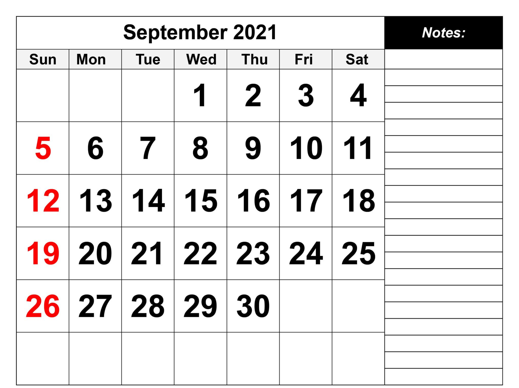 Editable September 2021 Calendar Printable Template
