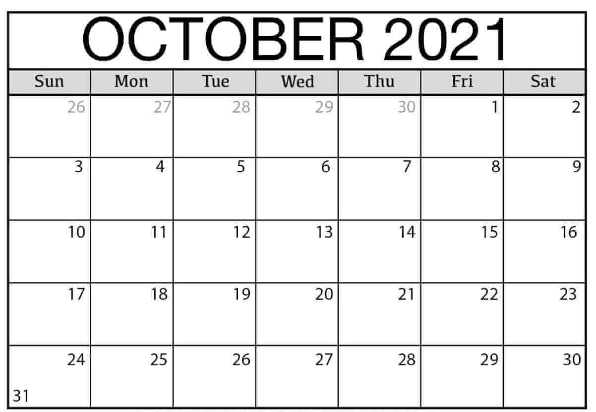 Monthly October 2021 Blank Calendar Pages Printable Template