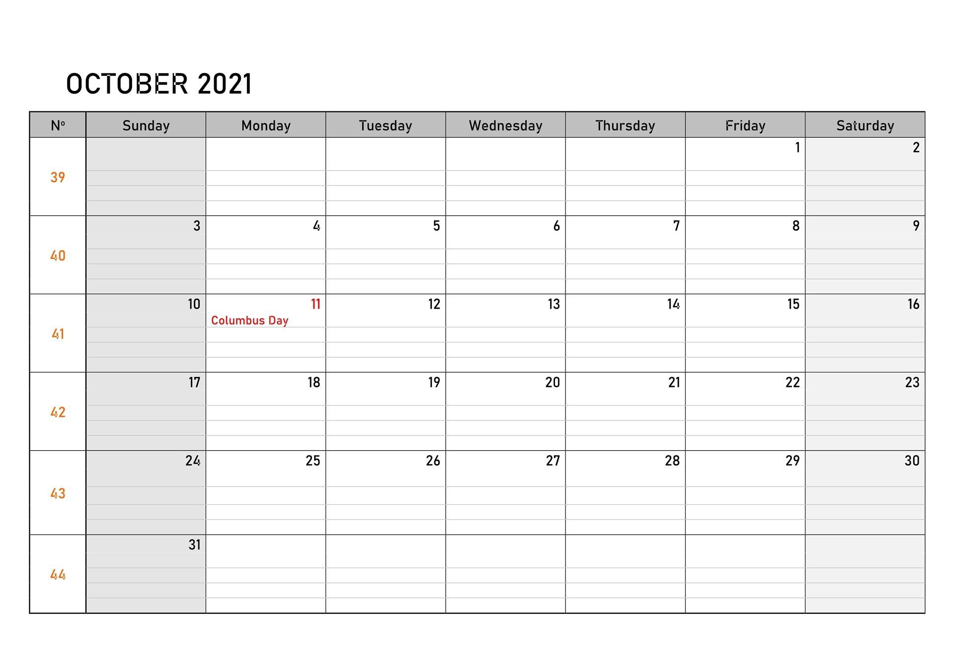 Free October 2021 Calendar Printable Templates Download