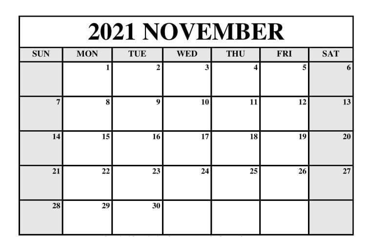 Editable November 2021 Calendar Printable Template