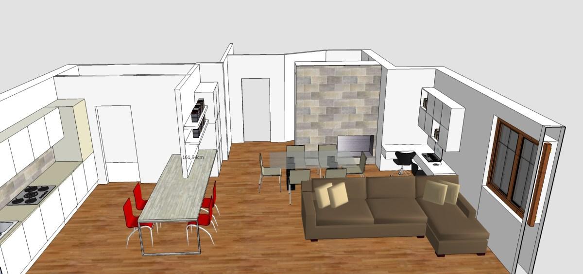 Living cucina ingresso e studio in 50 mq  Mayday Casa