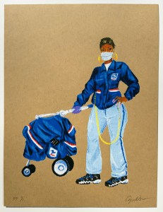 """""""USPS WORKER, COVID-19"""" by Aya Brown"""