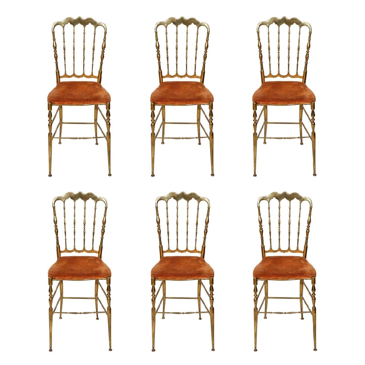Spindle Dining Chairs Set Of Six Brass Spindle Back Antique Chiavari Dining