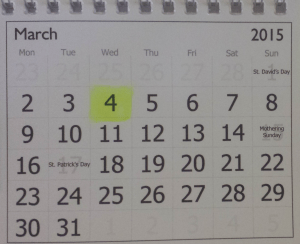Photo of calendar highlighting Wednesday 4th March 2015