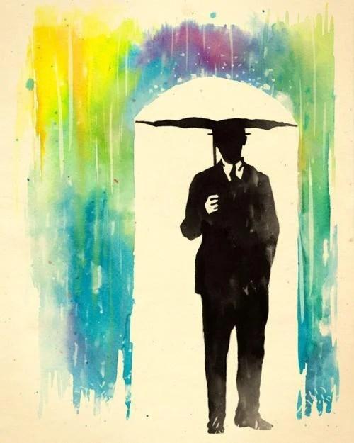 Umbrella and rainbow