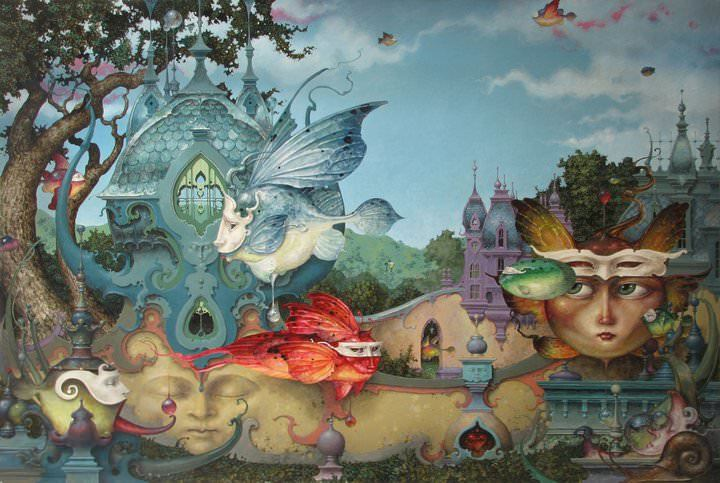 A Fantasy Surrealist Painting By David Merriam Of A