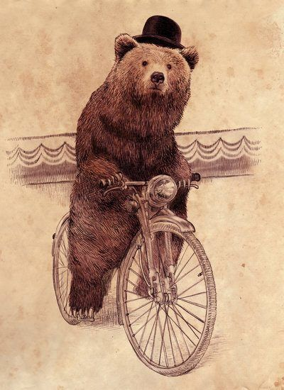 A bear wearing a hat rides a bicycle in this antique styled illustration by Eric Fan   Mayhem