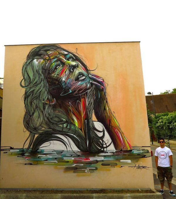 Beautiful Woman Poses Eternally In Large Street Art Mural French Graffiti Artist