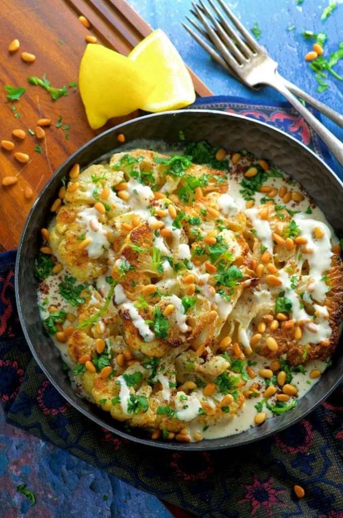 Roasted Cauliflower Steaks With Tahini - May I Have That