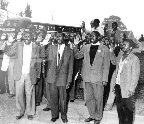 Robert Sobukwe and fellow PAC NEC leaders in Orlando, leading the Anti Pass Positive Action Campaign on 21st March 1960. (Source: Peter Magubane)