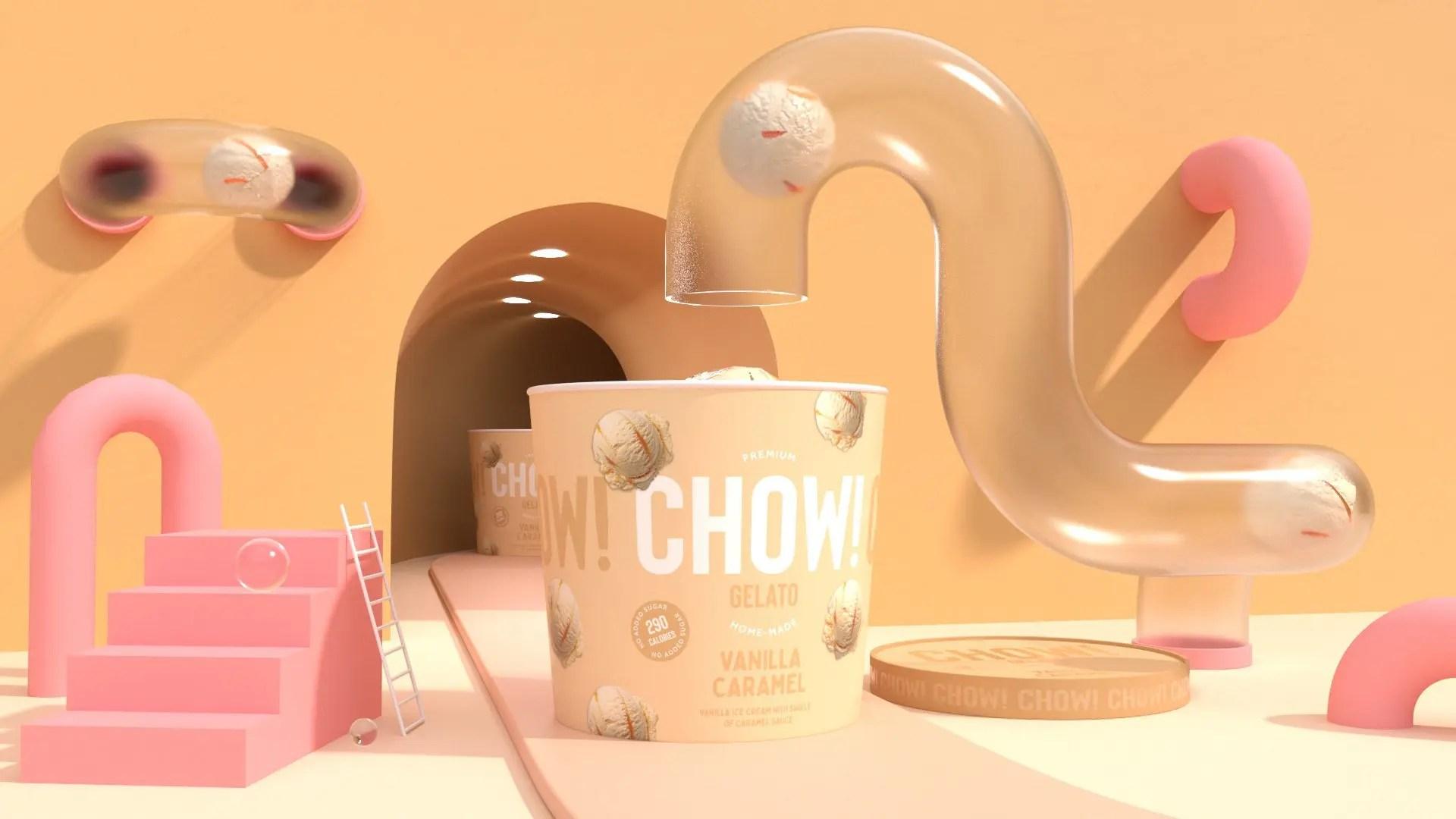 CHOW ICE CREAM 3D VANILLA CARAMEL