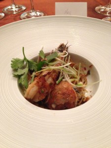 chili xo longevity noodle with prawn and bay scallop takoyaki