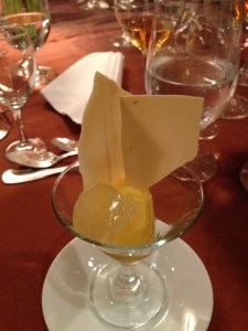 tangerine sorbet with crushed fortune cookie