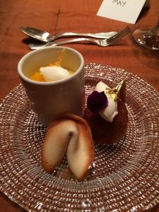 tangerine cake, banana custard & fortune cookie