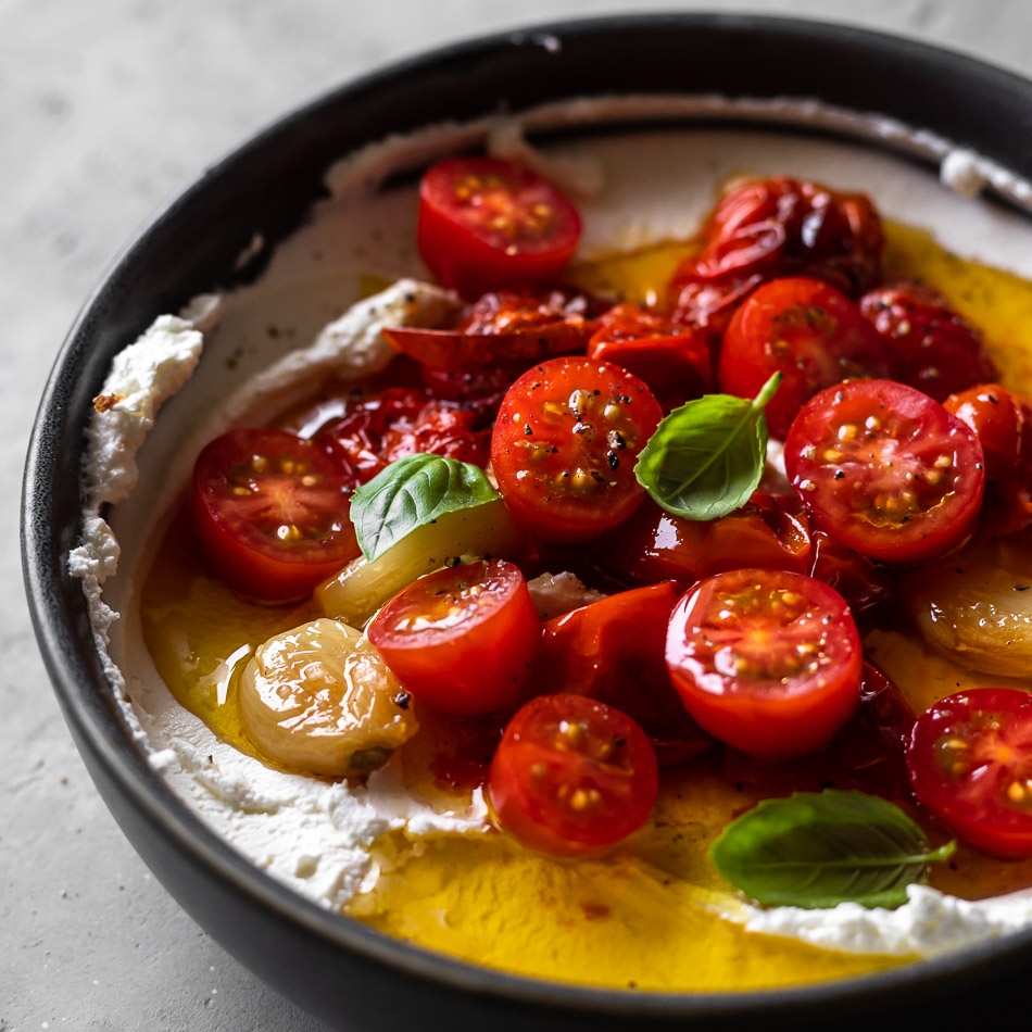Labneh with burst cherry tomatoes