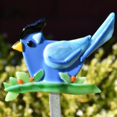 Fused glass blue jay garden stake art