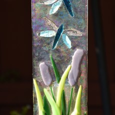 Fused glass dragonflies over garden stake art